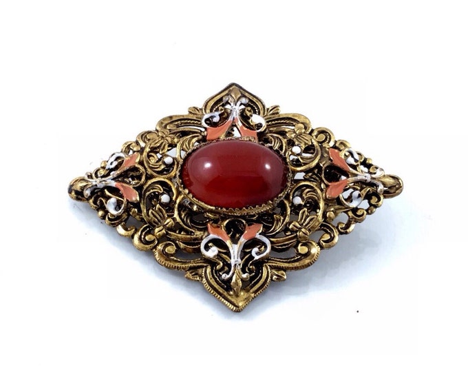 Beautiful Vintage Czech Brooch, Old Vintage Carnelian Glass Cabochon Brooch. Handpainted Czech Rhinestone Brooch.
