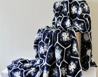 Snowflake Blanket, Afghan- Handmade Queen Hexagon Crochet Blanket - Navy Blue Blanket