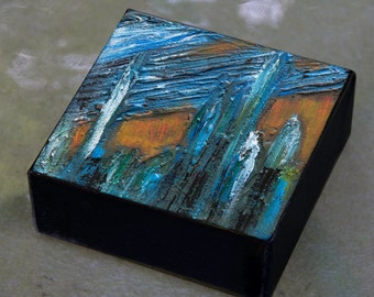 Small Square Painting - 4x4 Mini Painting Blue and Gold Abstract Painting