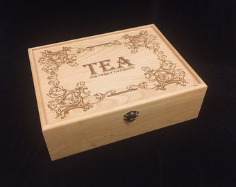 Unfinished Wooden Engraved Tea Box with Hinges & Latch-12 1/8 x 9 1/4 x 3 3/4-unfinished wood box-engravable wood box-12 compartments