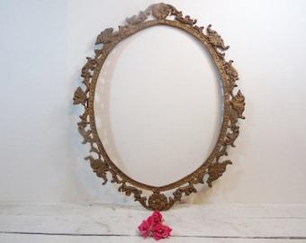 Vintage Ornate Large Brass Metal Picture Frame/Wedding Decor/Wedding Frame/Vintage Wedding
