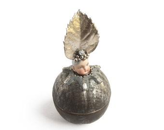original art doll ornament, tin apple, altered art doll, vintage fruit,  by Elizabeth Rosen