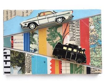 Road Trip, 6x4 small original mixed media assemblage, vintage cars, found object art, playroom decor, original art by Elizabeth Rosen