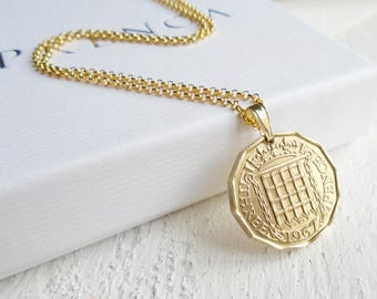 50th Birthday - Threepence Long Necklace, 1967 Gold Coin Necklace, Gift for Women, 1967 Birthday Necklace, Present Anniversary, 1967 Gift