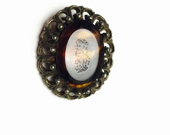 Art Deco Brooch, Brown Glass Stone, Antique Gold Tone, Vintage, Clearance Sale, Item No. B647