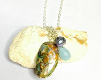 Vintage Shell Pendant, Large Abalone, Black Pearl, Crystal, Silver Wire, Clearance Sale, Item No. S183
