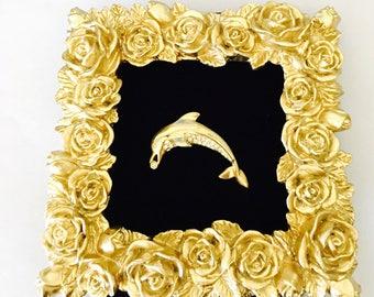 Dolphin Brooch, clear rhinestones, Gold Tone, Animal Figural, Clearance Sale, Item No. B273