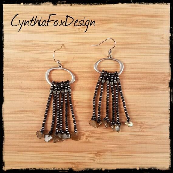 Labradorite Fringe Earrings, Silver Metal Long Beaded Earrings, Foxxy Jewelry from CynthiaFoxDesign
