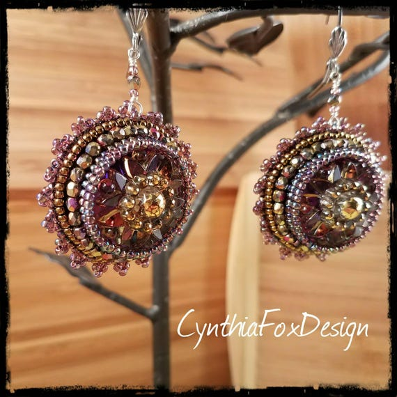 Deep Amethyst Floral Czech Glass Button Earrings