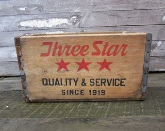 Antique Wood Crate Wooden Box Three Star Beverages Verona Pa Pittsburgh Crate Box Primitive Distressed Old Primitive Display Crate Storage