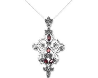 Sterling Silver Vintage Inspired Ornate Marcasite and Garnet Gemstone Pendant Necklace