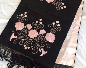 Vintage 1920s 30s 40s Black and Light Pink Embroidered Wrap Shawl Piano Scarf