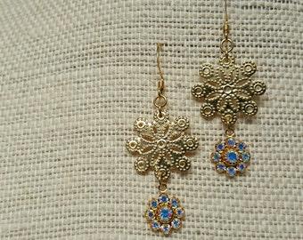 PINWHEEL Swarovski crystal drops goldplated earrings jewelry
