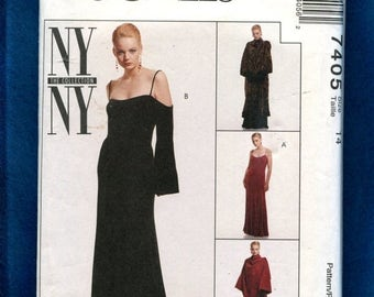 15% OFF SPRING SALE McCall's 7405 Evening Dress with Off the Shoulder Bell Sleeves & Wrap Coat Size 14 Uncut