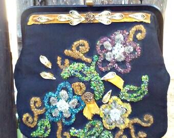 Vintage 1960s Large Black Beaded Tapestry Bag Purse Mad Men Boho