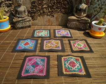 Hmong Hand Cross Stitch Textile,Set Of 7, Hand Needlework Patch, Hmong Textile,