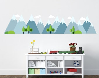 Mountains Decal, Mountain Scene Decal, Fabric Decal, Kids Wall Decals Ecofriendly No Toxins No PVCs Decals, WD900A