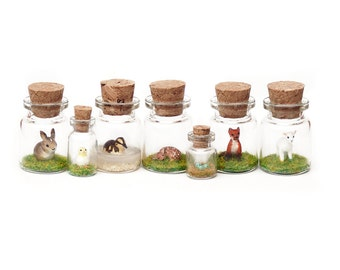 Spring Wildlife Miniature Collection, Animals, Rabbit, Lamb, Fox, Chick - 3cm animal in a jar tiny bottle ornament collection