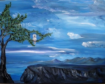 Blue skies over the desert original painting, owl, fantasy art, desert bluff, desert mountain