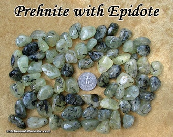 Prehnite with Epidote (small/medium) tumbled stone for crystal healing