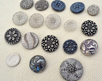 Antique Silver Luster Buttons, Czech glass, Clear Glass,  Lot of 14