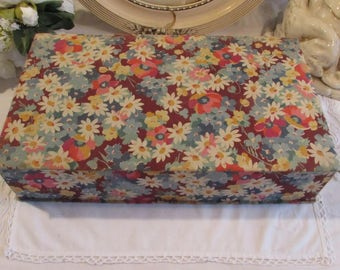 Very large antique/vintage French covered sewing box.  Beautiful cottage chic