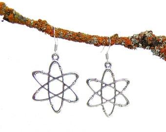 Atom Earrings - Science Jewelry - Atoms - Atomic Symbol Earrings in Silver