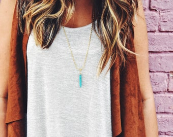 Long Turquoise Spike Necklace
