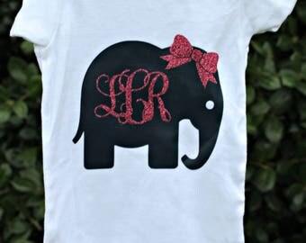 Cute Monogram Elephant Onesie