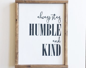 Humble and Kind Wood Sign-entry, living room, wall decor, decoration, wood decor, lettering, house quotes wood frame brown