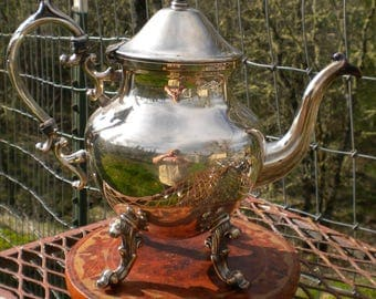 Vintage Silverplate Teapot Birmingham Silver Company  Silver Plate Cottage Chic Ornate Dining Decor Tea Service Serving Piece