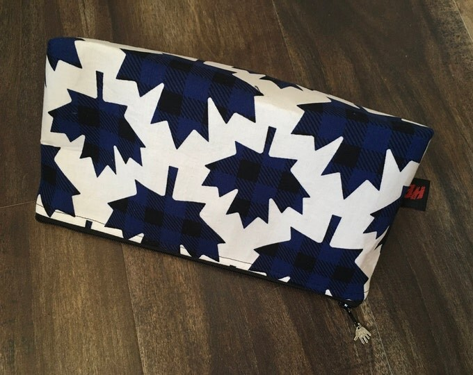 Zippered makeup pouch or diabetic supply bag in a blue plaid maple leaf fabric