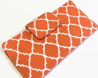 Checkbook Cover, Checkbook case, Orange checkbook holder, check book holder