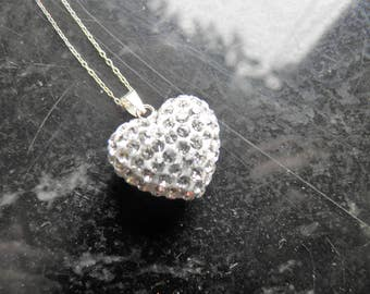 Simulated Diamond Puff Heart with Chain, Bride