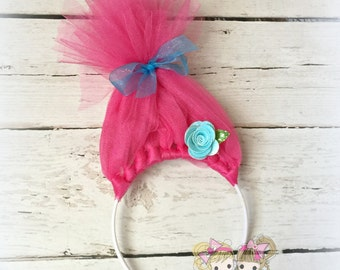 Trolls Headband- Poppy- Hot pink- Custom Headband