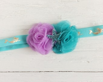 Lavender teal Mermaid headband baby girl headband toddler headband flower headband matilda jane m2m flower infant newborn headband baby gift