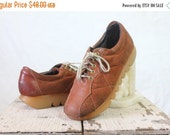 ON SALE Vintage 70's Cognac Brown Quilted Suede Leather Lace Shoes Sz 7-7 1/2