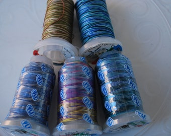 5 spools YLI Colours 100% long staple cotton