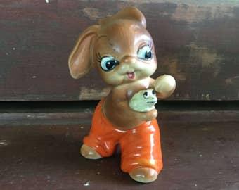 Half Price Sale. Josep Originals Ceramic Handpainted Bunny with Frog Figurine. circa 1960