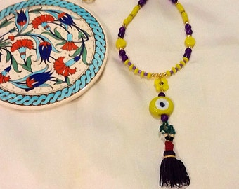 Turkish evil eye necklace with Afghan beaded tassel , evil eye and tassel jewelry , tribal nomad gypsy jewelry , bohemian gypsy necklace