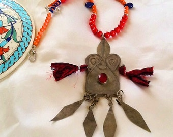 Turkoman pendant necklace , bohemian gypsy nomad necklace ,tribal Turkoman central Asian jewelry , vintage dangle turkoman pendant necklace