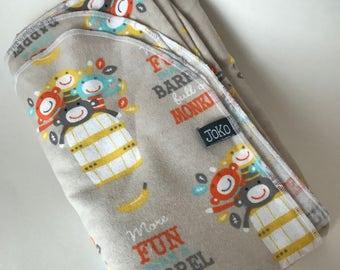 Handmade XL Flannel Receiving blanket / Swaddle blanket - More Fun than a Barrel of Monkeys print