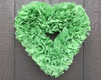 Heart Wreath - Valentine's Wreath - Gingham Wreath - Green and White Wreath - Winter Wreath - Door Wreath - Rag Wreath - Lime Green Wreath