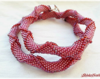 Raspberry pink rainbow seed bead crocheted necklace with relief
