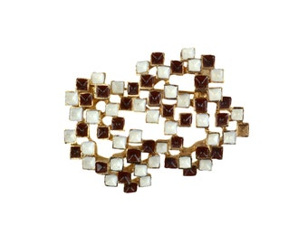 Vintage Modernist Brooch // Dark Reddish Brown & White Enamel on Goldtone Metal // Abstract Brutalist Dark and Light Geometric Cubes Squares