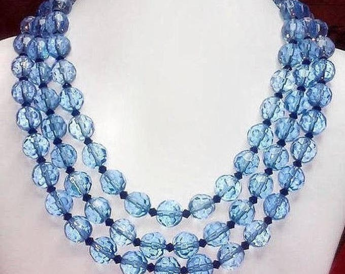 A touch of vintage 3 strand faceted Crystal glass 12mm necklace