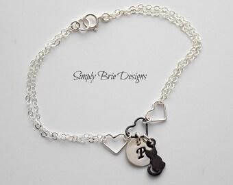 Personalized Pet Bracelet Sterling Silver Cat Charm Bracelet Cat Jewelry Oxidized Black Cat Silver Heart Pet Remembrance Jewelry