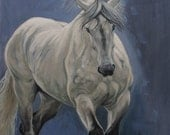 Original oil painting horse art equine art painting energy and movement horse painting on canvas 'Grey I' by H Irvine