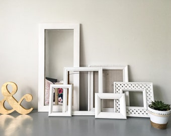 White Gallery Wall Frames with Mirror - Set of 5 Handpainted Frames
