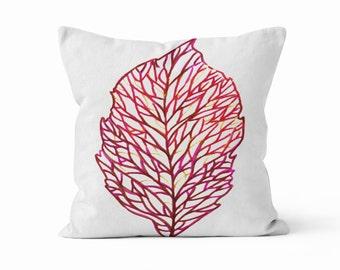 Pillow Cover, Round Leaf, Original Watercolour Art, Throw Pillow Case w/optional insert